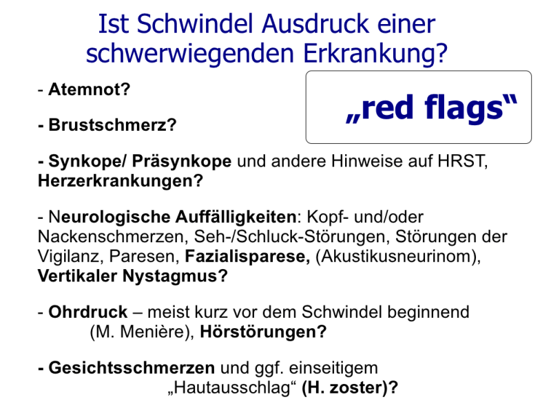 red flags schwindel