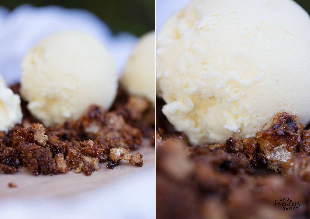Vanilleeis mit karamellisiertem Knaeckebrot
