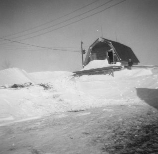 Barn on the Elmer M. and Irene Brindle farm south of Hazelton - Emmons County, ND, Blizzard of 1966.