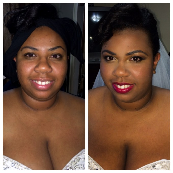 bridal makeup before and after - makeup by jeannine