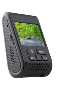 "The A119 dash cam as seen from the rear, with its 2"" screen and buttons"
