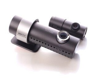 A photo of the cylindrical BlackVue DR550GW cams, with the rear camera being less than half the size of the front camera
