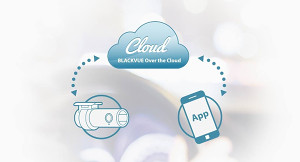 Dash cam connected to the BlackVue cloud, streaming video to a smart phone