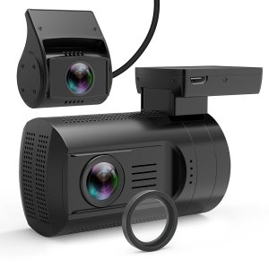 Product photo of the Mini 0906 front and rear dash cams, with CPL filter