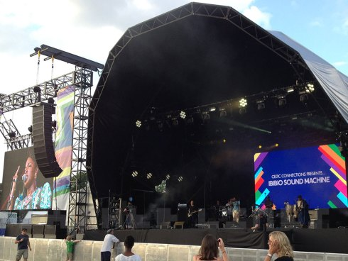Ibibio Sound Machine onstage, Festival 2014