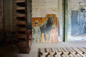 Pieces of art alongside the tools of the grain industry in Buffalo