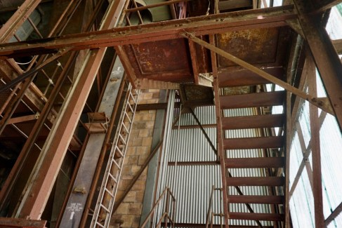 Ladders and stairs that take you up into the silos in Buffalo