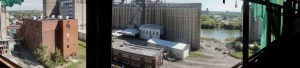 panoramic view from inside grain elevator in Buffalo