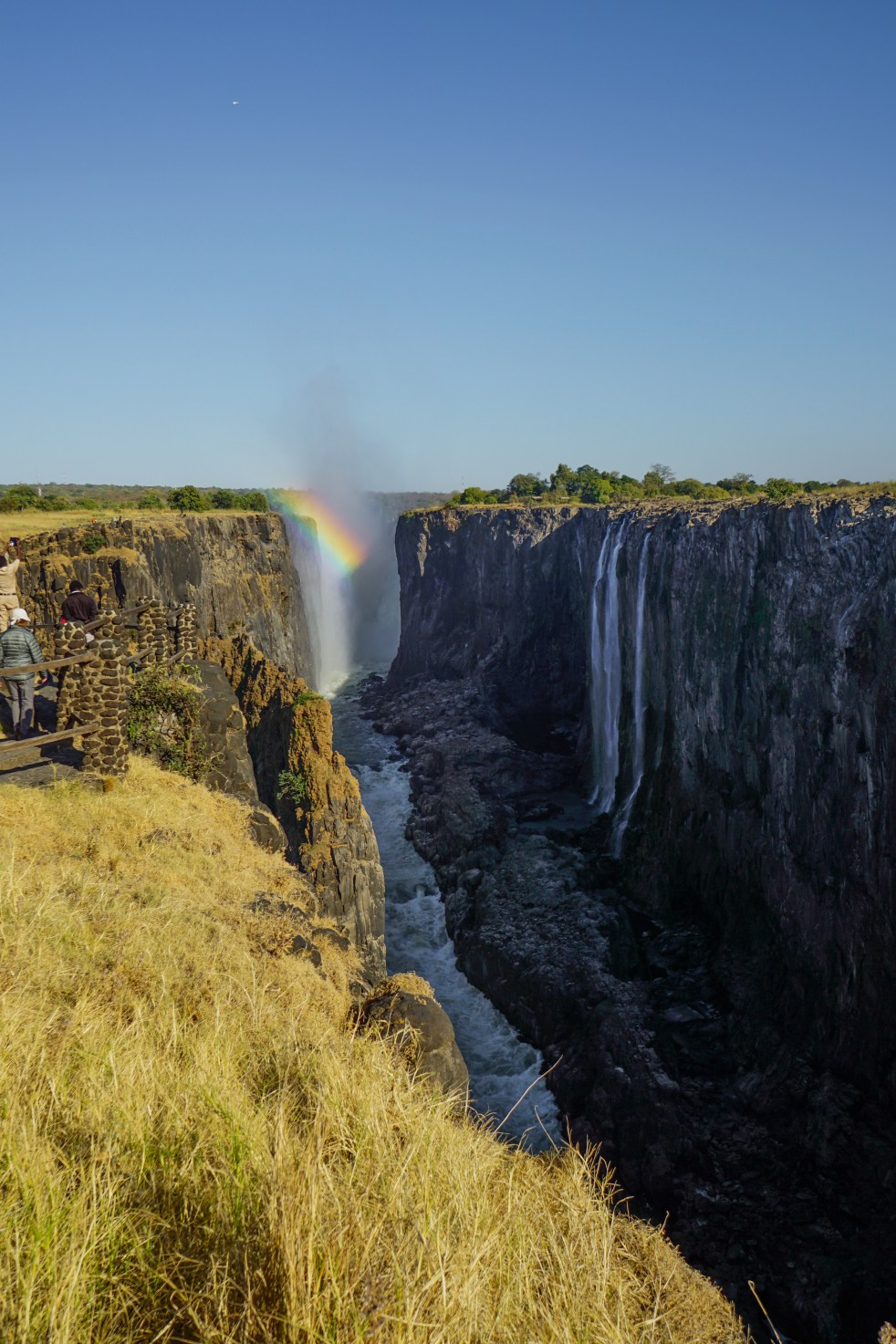 Rainbow over Zambian side of Victoria Falls