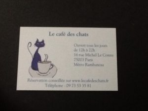Cafe des Chats business card
