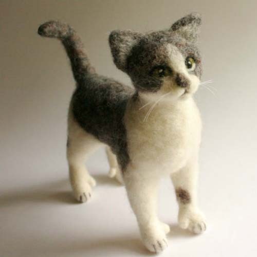 felted cat figure standing