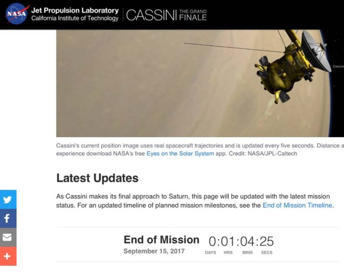 picture of the Cassini spacecraft approaching Saturn