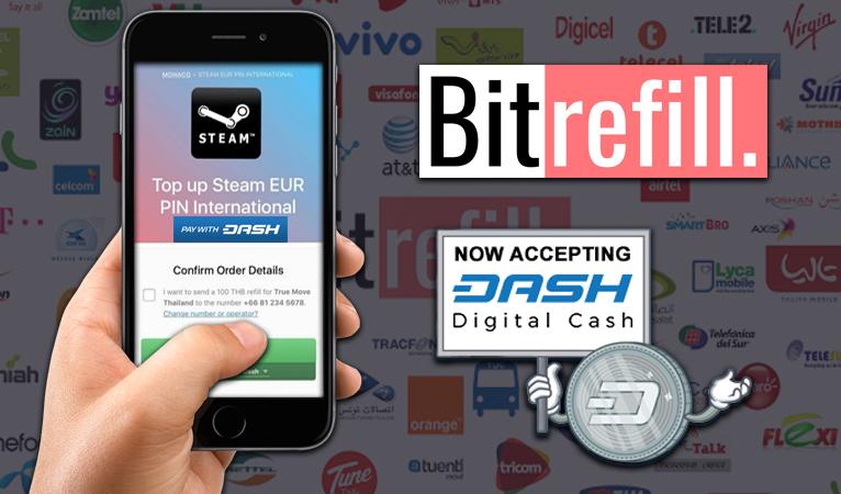 Bitrefill, leader du marché sur les recharges de forfait mobile, accepte les Dash