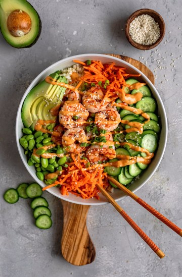 Shrimp Sushi Bowls With Cauliflower Rice