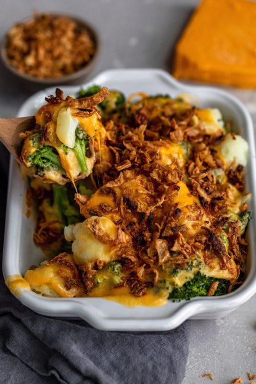 Pressure Cooker Broccoli Cauliflower Gratin