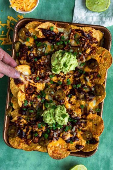 Sheet Pan BBQ Jackfruit Nachos - Dash Of Mandi