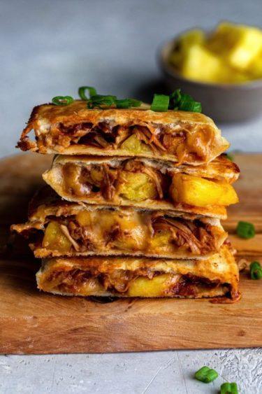BBQ Jackfruit Pineapple Quesadillas
