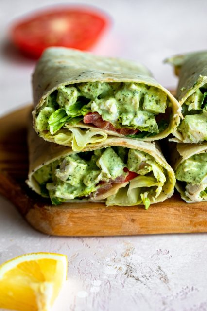 Creamy pesto chicken salad wraps
