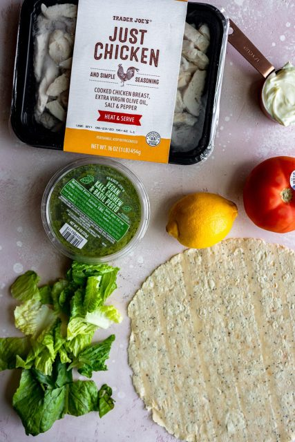 Easy pesto chicken salad wraps