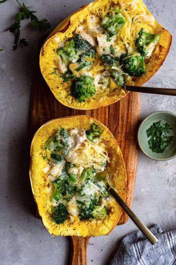 Broccoli Alfredo Stuffed Spaghetti Squash