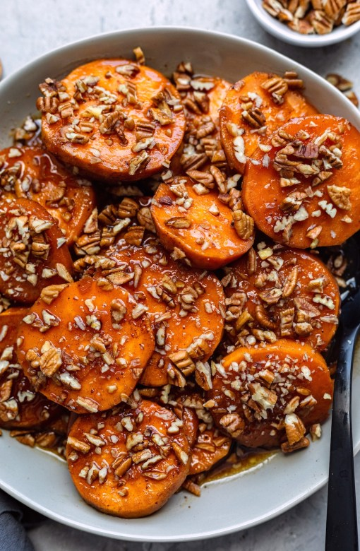 Crock-Pot Maple Bourbon Candied Sweet Potatoes - Dash of Mandi