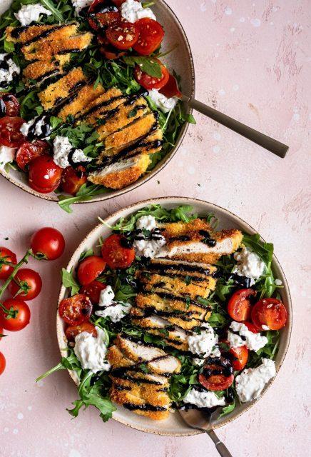 Chicken Milanese Burrata Salad - Dash of Mandi