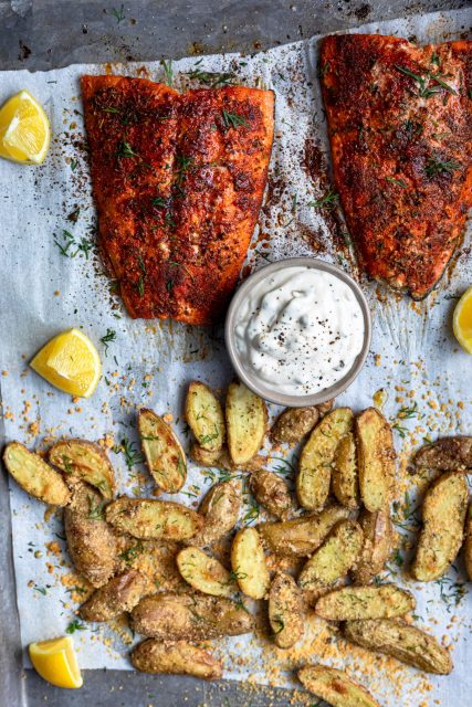 Salmon and potato sheet pan meal