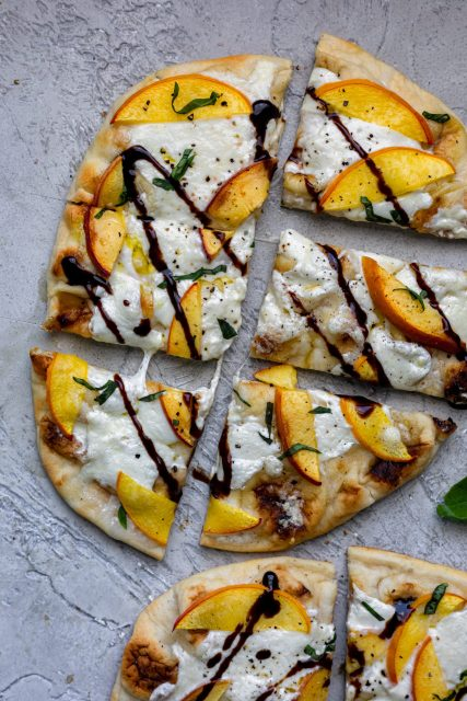Peach naan flatbread with balsamic glaze