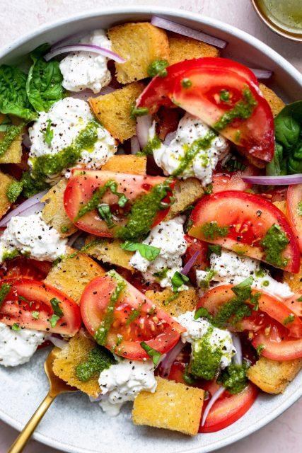 Panzanella Burrata Salad With Pesto Vinaigrette - Dash Of Mandi