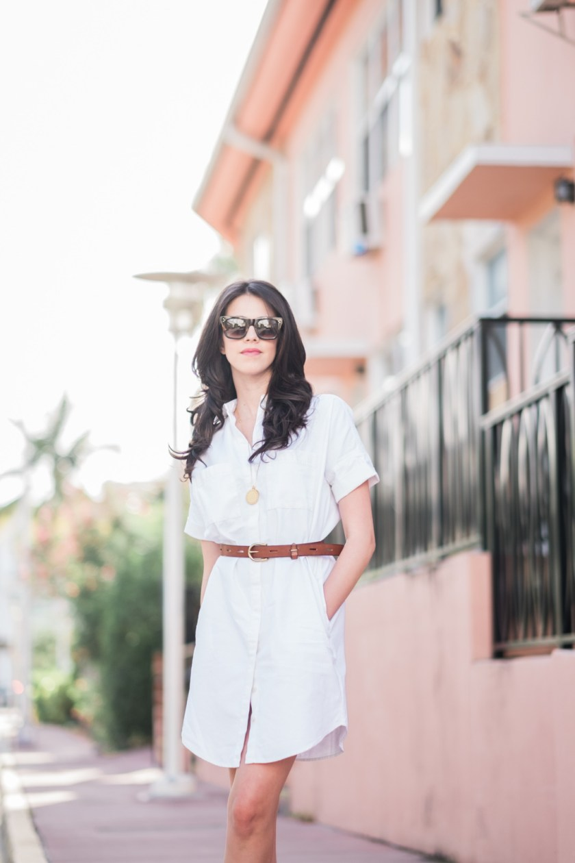 Jackie Roque styling the Madewell Courier White Dress