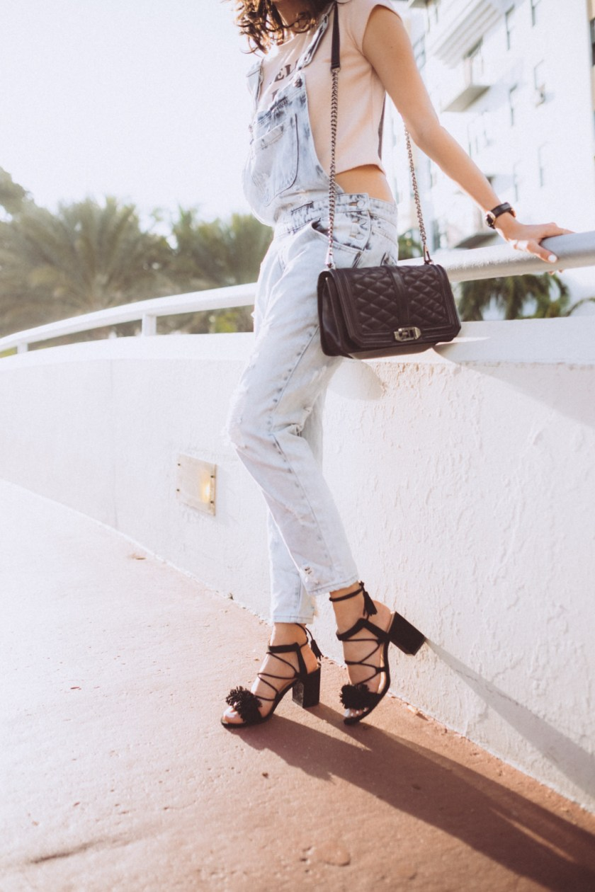 Jackie Roque wearing Forever 21 Overalls, Rebecca Minkoff Bag, Zara fringe shoes