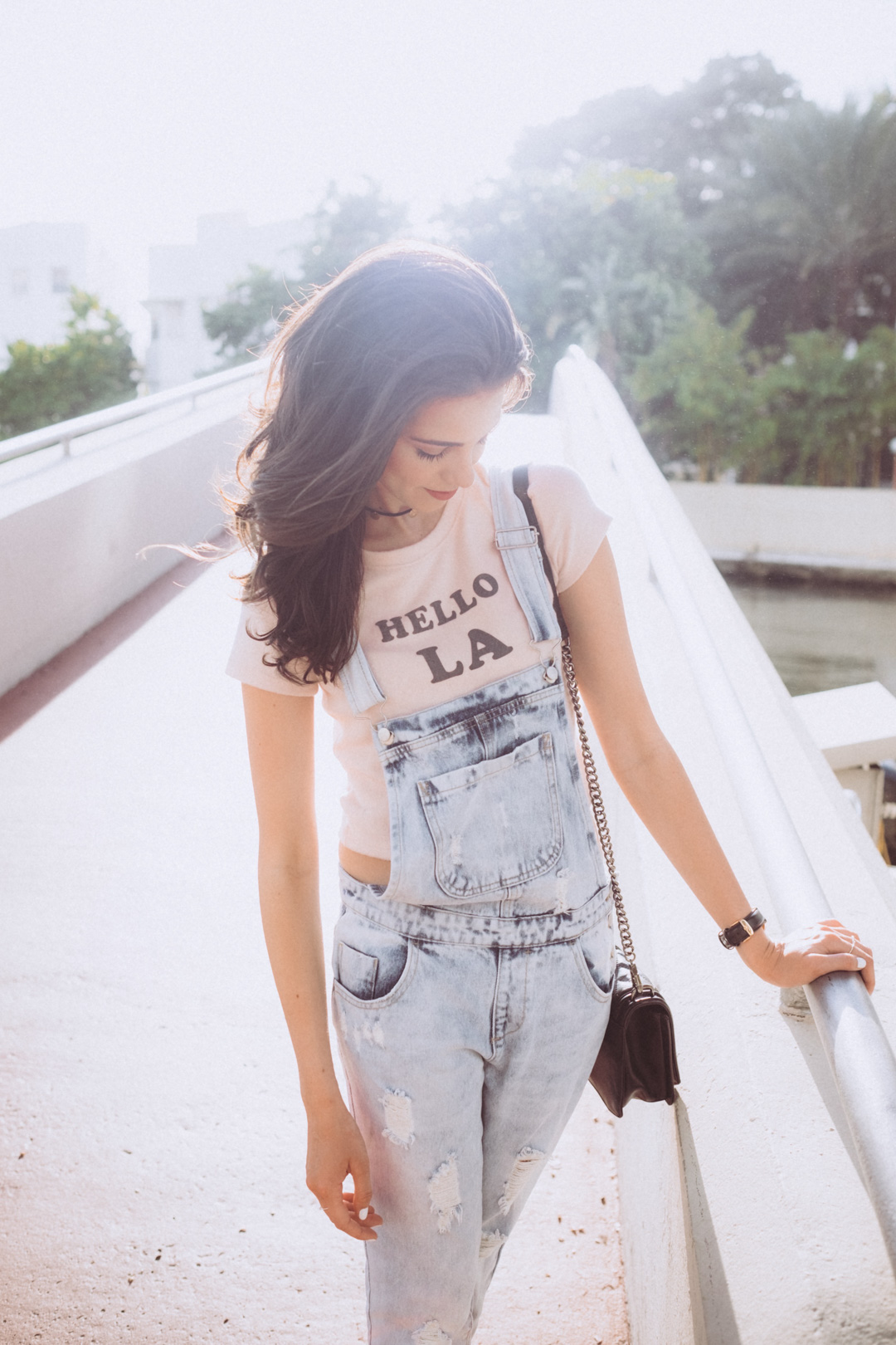 Dash of panache wearing Forever 21 Overalls and Hello LA Tee