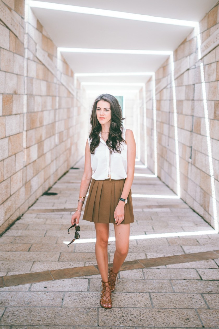 Dash of Panache styling the Ann Taylor Drapey Skort in green