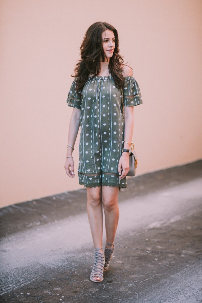 Jackie Roque styling a Topshop off the shoulder embroidered dress with Jeffery Campbell Shoes and the Chloe Drew bag