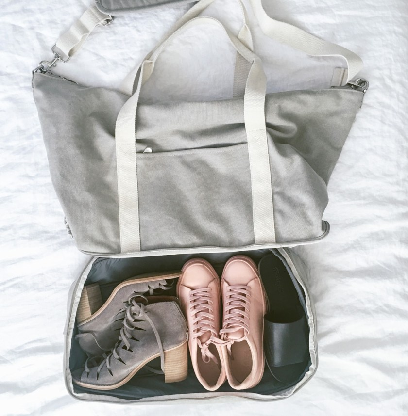 Packing tips from Dash Of Panache featuring a Lo and Sons Catalina Weekender Deluxe, Madewell, and Diptyque
