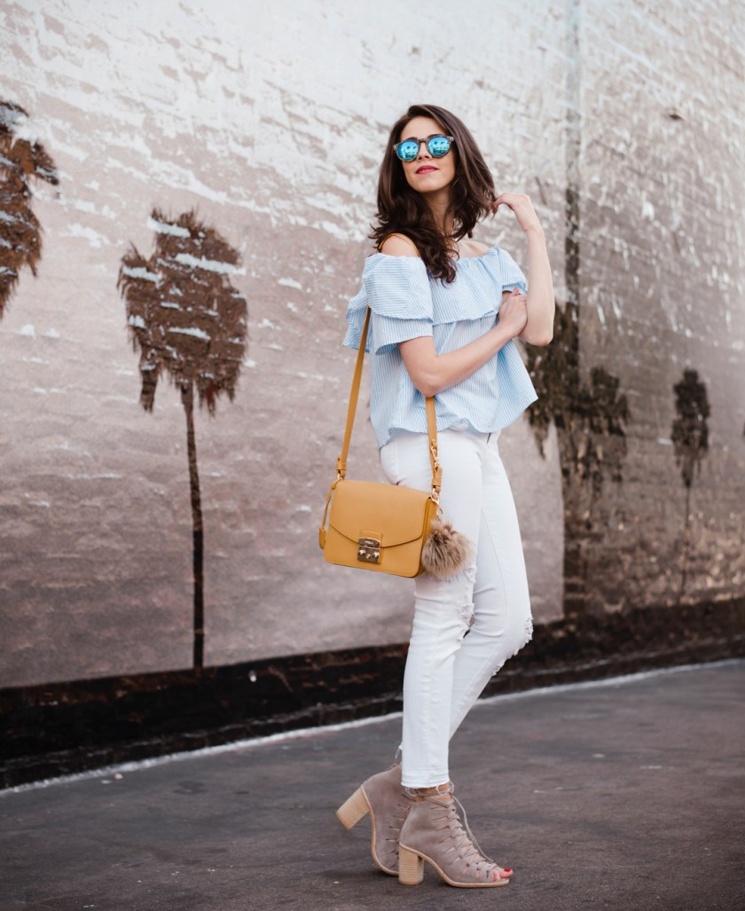 Shein off-the-shoulder top, J Brand Jeans and Taudrey Necklace , Furla bag, Illesteva sunglasses, Jefferey Campbell Shoes.