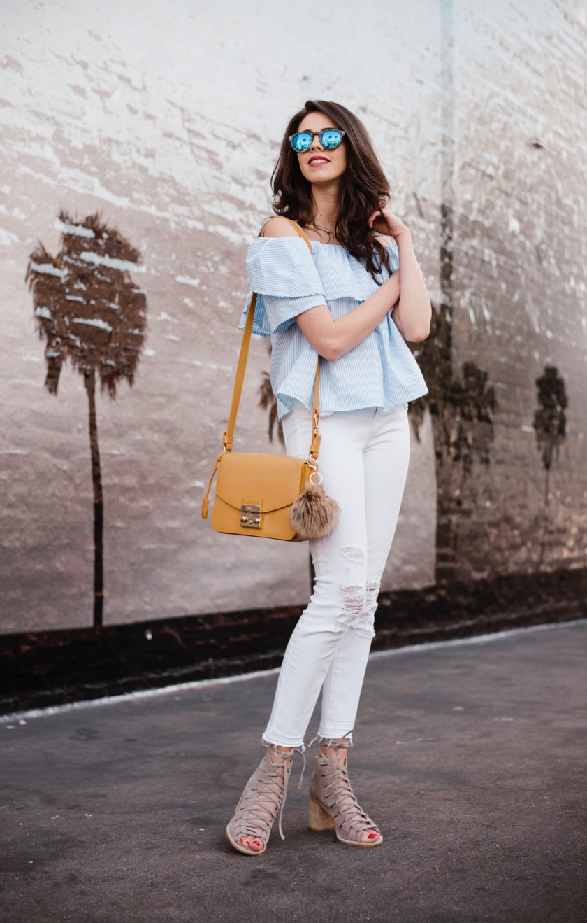 Shein off-the-shoulder top, J Brand Jeans and Taudrey Necklace , Furla bag, Illesteva sunglasses, Jefferey Campbell Shoes