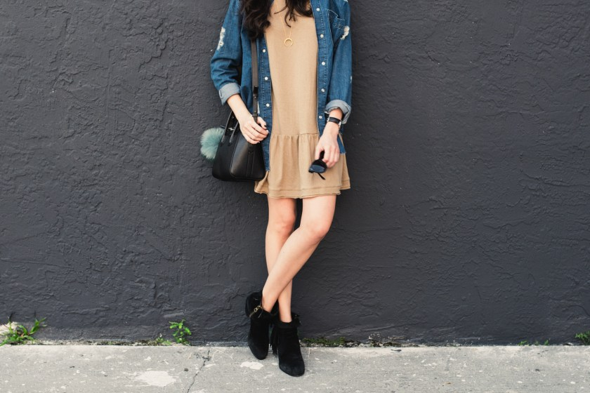 Jackie Roque styling a free people peplum dress, topshop denim top, Givenchy mini Antigona, Sam Edelman Louis boot.