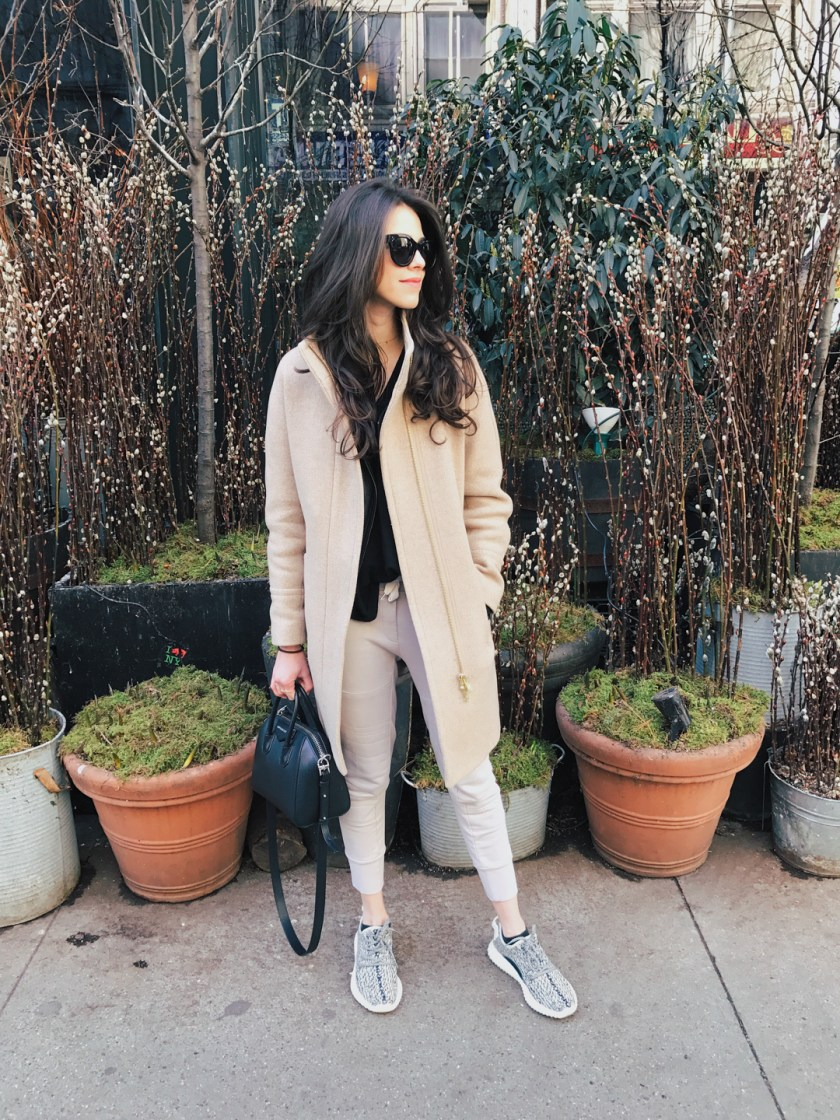 Jackie Roque styling a J.Crew cocoon coat in NYC