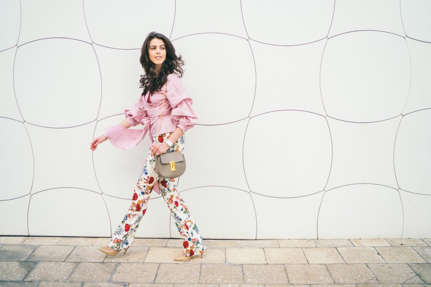 Jackie Roque mixing prints in Miami Design District
