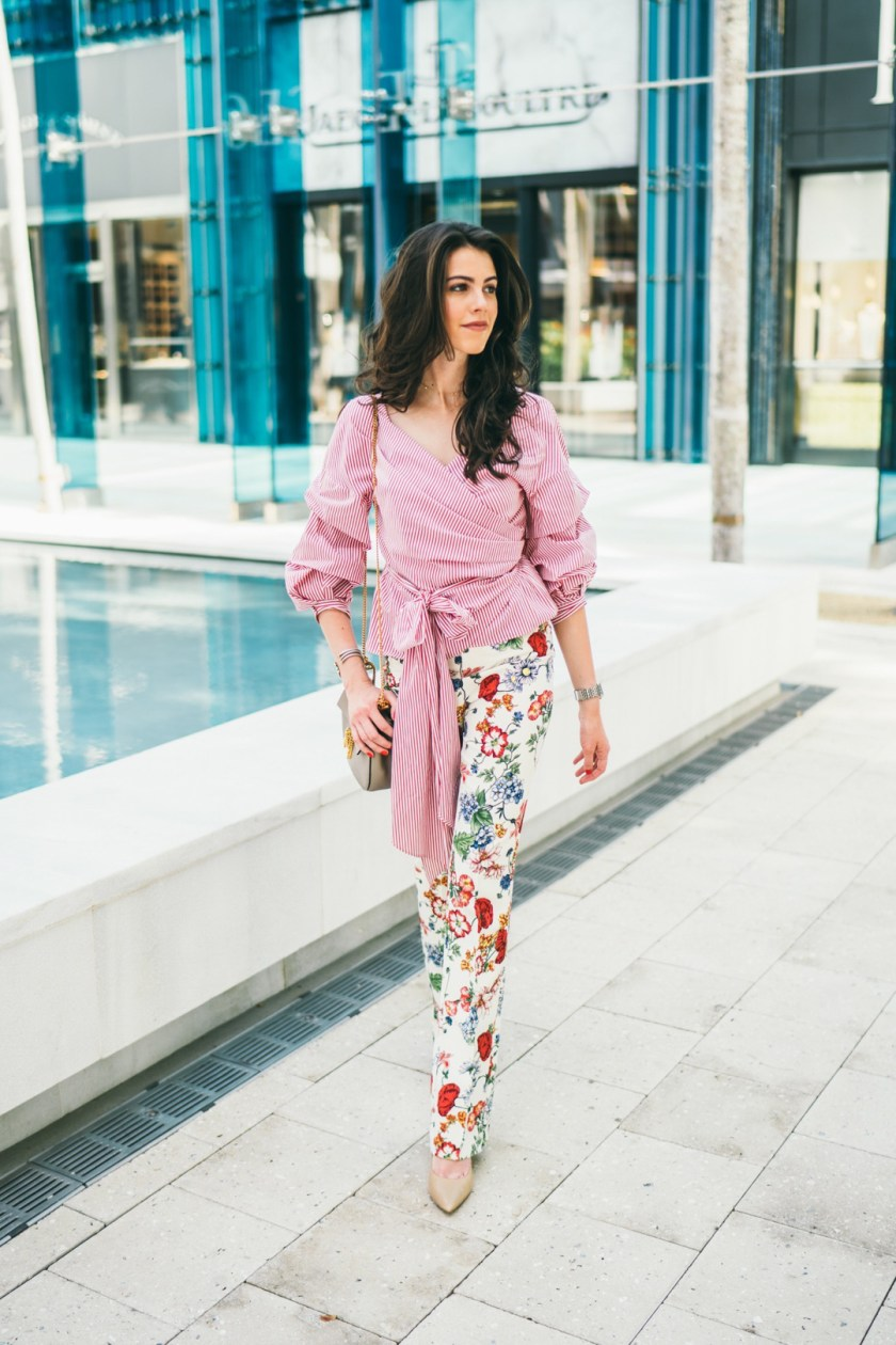 Jackie Roque mixing prints in Miami Design District.