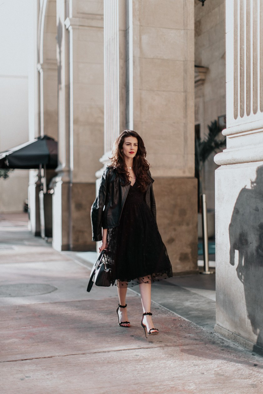 Jackie Roque styling a date night outfit from J.Crew star tulle dress in Miami.