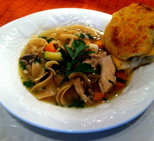 Homemade Chicken Noodle Soup with Honey Cheddar Buns