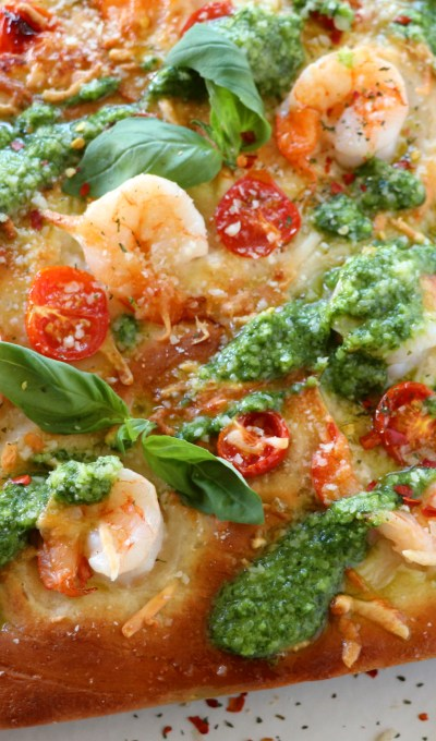 Roasted Shrimp, Cherry Tomato and Pesto Focaccia