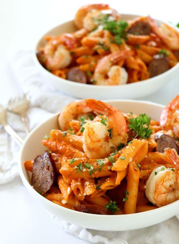 Spicy Sausage and Shrimp Pasta