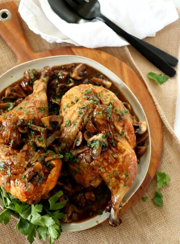 Roasted Chicken with Balsamic Mushroom Sauce