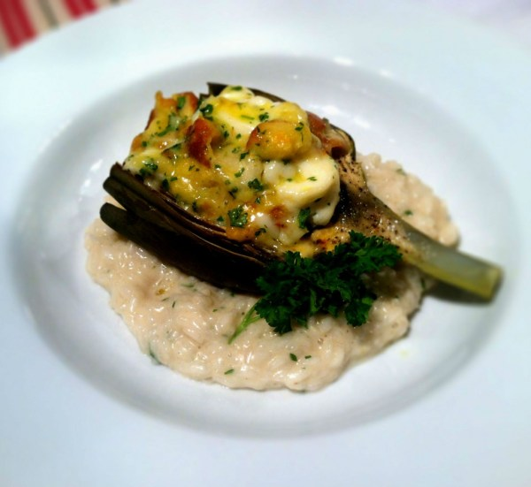 Lobster Stuffed Artichokes with Chardonnay Butter Sauce