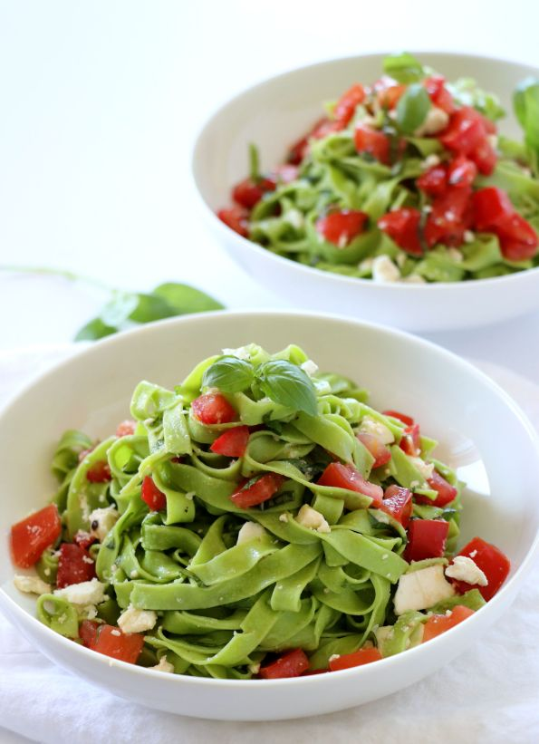 Fresh Spinach Pasta with Feta and Plum Tomatoes