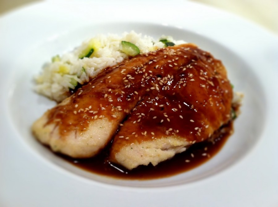 Apricot Soy Glazed Tilapia with Zucchini White Rice