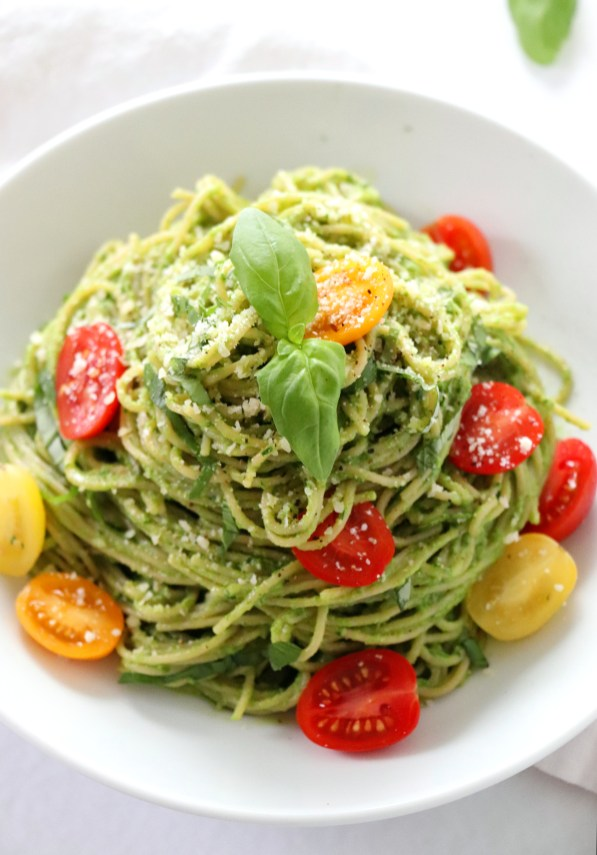 Avocado Spinach Pesto Pasta